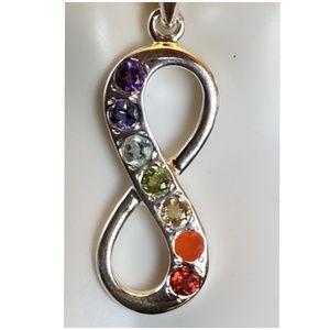 """Genuine Gems Healing Infinity Chakra Pendant 1.5"""""""